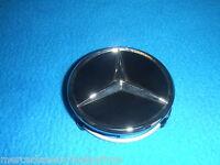 Mercedes Benz Genuine Satz 4 Radnabenkappen 75mm Matt Schwarz mit Chromrand Neu