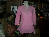 LUCY PARIS WONDERFUL Pink Embroidered Tunic Size M/L