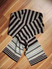 @ Esprit @ schöner Schal grau-blau-schwarz geringelt unisex 164 cm Gr. 128-140