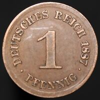 1887 D | Germany 1 Pfennig | Copper | Coins | KM Coins