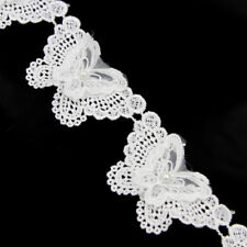 2Yd White Lace Trim Beaded Pearl Applique Dress Belt Sewing Crafts Decor DIY