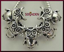 5 Antique Silver Owl Spacers for Charm Bracelet / Necklace Ship from USA S078