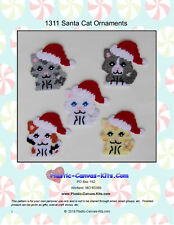 Santa Cat Christmas Ornaments-Plastic Canvas Pattern or Kit