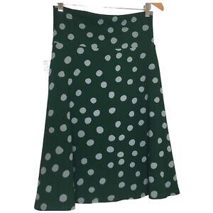 LuLaRoe Medium M Skirt Short Azure Green Polka Dot Comfort Waistband Christmas