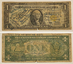 SHORT SNORTER 1935A US $1 Silver Certificate North Africa Yellow Seal Note