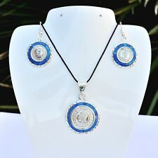 and Earring Setfrom Taxco Mexico Artisan Aztec Calendar Blue Opal Pendant