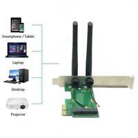 Wireless Wifi Netzwerkkarte Mini PCI-E Zu PCI-E 1X Adapter Antennen 2 F5S7