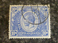 KENYA & UGANDA POSTAGE STAMP SG94 10S BLUE VERY FINE USED