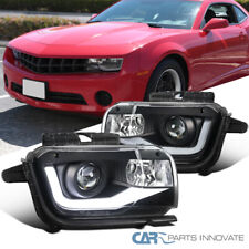 Fit 10-13 Chevy Camaro LED DRL Black Projector Headlights Head Lamps Left+Right