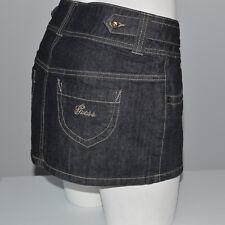 GUESS Jeans Women's Denim Mini Summer Skirt A-Line Black Embroidered Logo Sz 26