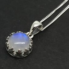 Rainbow Moonstone Round Pendant, Solid Sterling Silver, New, 12mm, UK seller.