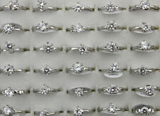 60pcs Wholesale Bulk Lots Wedding Jewelry Mixed Clear Cubic Zirconia Lady's Ring