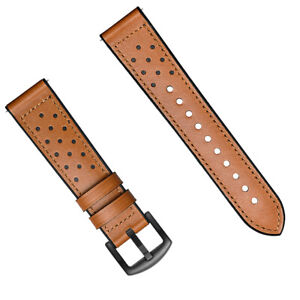 22mm Brown Leather Silicone Watch Band Strap Made For Bulova Accutron 63B139