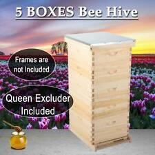 5 Layer Beehive Honey Bee Hive With Metal Roof And Queen Excluder Upgraded Model