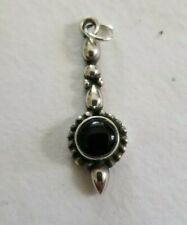 onyx charm pendant 2.0 grams Vtg .925 Sterling silver and