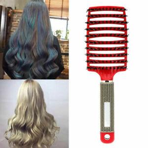 Professional Bristle Cushion Brush Nylon Bristle Detangle Distribute ِCurly Hair