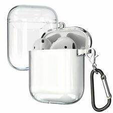 For Apple AirPods 2/1 Clear Slim Charging Case + Keychain Protective Cover Skin