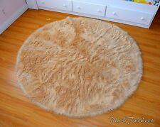camel beige 5' sheepskin  faux fur area throw rugs flokati baby room nursery rug