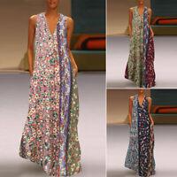 ZANZEA Women Sleeveless Floral Print Long Shirt Dress Summer Holiday Midi Dress