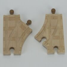 "3.5"" CURVED SWITCH - GENUINE THOMAS & FRIENDS WOODEN TRAIN TRACK - LOT OF 2"