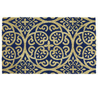Anti Slip Entrance Floor PVC Doormat Natural Coir Front Door Mats Damask Blue
