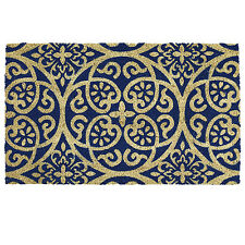 Anti Slip Entrance Floor PVC Doormat Natural Coir Front Door Mats Damask Blue