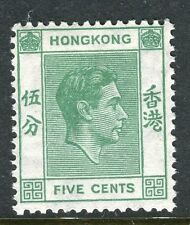 HONG KONG;  1938 early GVI issue Mint hinged 5c. value