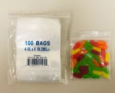 "4x4 ZIPLOCK BAGS 2MIL CLEAR PLASTIC POLY ZIP LOCK BAGGIES 4"" x 4"" RECLOSABLE 100"