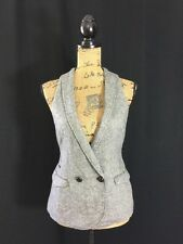 GAP XSmall Wool Blend Vest Long Off White Gray Herringbone Stripe 3 Pocket Work