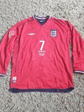 BECKHAM #7 England Long Sleeve Away Football Shirt Jersey 2002 Argentina XL MENS