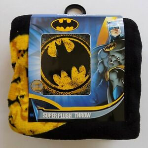 "NEW Batman Super Plush Throw 48x60"" Soft and Warm Black Yellow Logo Blanket"
