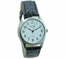 NEW Constant Ladies' White Dial Black Strap Watch Easy To Read Dial And Silver