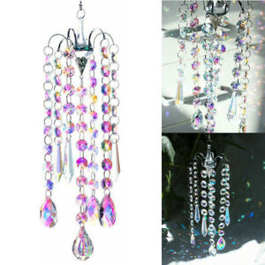 Chandelier AB Colorful Crystal Prisms Wind Chimes Hanging Sun Catcher Decor New