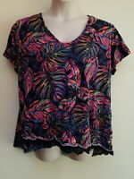 Westbound Woman Colorful Tropical Print Short Sleeve Top Blouse Plus Size 3X