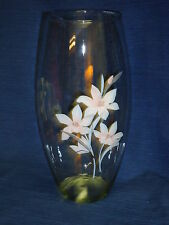 """10.25"""" Floral Pink & Gray Flowers Glass Vase"""