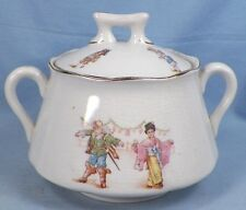 Adorable FAIRY TALES PORCELAIN SUGAR BOWL Children Geisha Jester AS IS