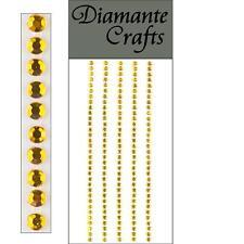165 x 3mm Gold Diamante Self Adhesive Strips Rows Rhinestone Craft Embellishment