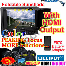 """Lilliput 7"""" 665/O/P Peaking Focus HDMI In Monitor+F970 adapter for Canon 5d2 5d3"""