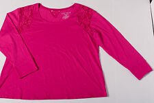 Cacique Women's Pink Sleepwear Lace Inset Shirt Size 22/24
