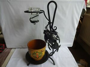 Vintage Wrought Iron Plant Display Stand With Grape & Leaf Design Height 39 cm
