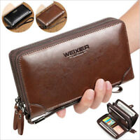 Men Handbag Clutch Bag Genuine Leather Cell Phone Holder Long Wallet Wrist Bag