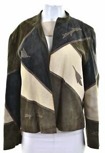 VINTAGE Womens Cardigan Sweater EU 40 Medium Green Geometric Viscose JC02