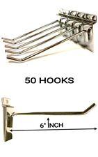 50 PCS 6'' INCH SLATWALL SLAT BOARD HOOKS ACCESSORY SINGLE SHOP RETAIL DISPLAY