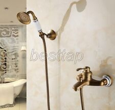 Antique Brass Bathroom Wall Mounted Tub & Hand Shower Faucet Mixer Tap stf304