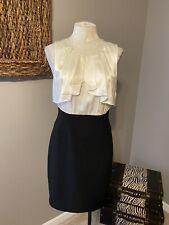 BCBG Max Azria Cream Silk Top Black Skirt Pencil Sheath Dress 8