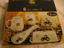 Gibson John Deere Tractor 5 Pc Dinnerware Dish Set butter, napkin, spoon rest