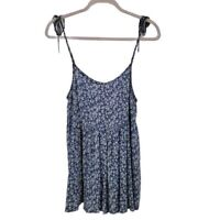 Urban Outfitters Floral Babydoll Dress Sz S Sweetheart Neck Tie-Shoulder Blue
