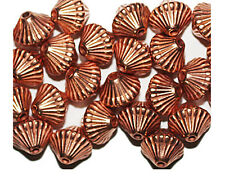 9mm Corrugated Bicone Bright Copper Metalized Metallic Beads