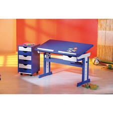 Caisson de bureau mobile commode coffre jouet rangement 6 tiroir bois BLEU BLANC