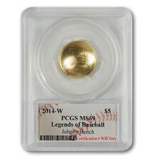 2014-W moneda de $5 De Béisbol De Oro-PCGS MS69-mano-firmado por Johnny Bench